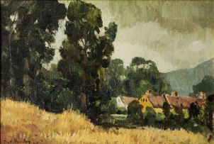 Piet van Heerden; Landscape with Houses and Trees