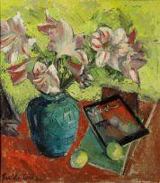 Freida Lock; Lilies in a Blue Vase