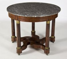 An Empire mahogany, gilt-metal mounted and marble-topped centre table, first quarter 19th century