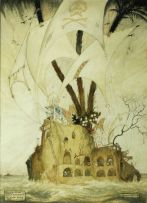 William Timlin; The Pirates' Floating Island: Illustration to Lord Dunsany's 'Loot of Bombasharna'
