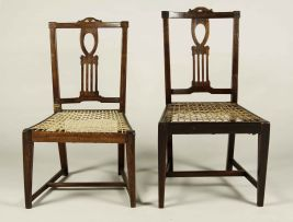 Two Cape neo-classical stinkwood fiddleback side chairs, late 18th century