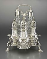 A George II silver Warwick cruet, Samuel Wood, London, 1737 and 1748