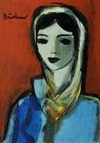 Carl Büchner; A Girl in a Headscarf