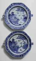 Three Chinese blue and white octagonal warming dishes, Qing Dynasty, Qianlong (1735-1796)