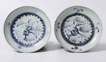 Two Chinese provincial saucer dishes, Qing Dynasty, circa 1750