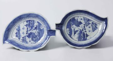 Two Chinese blue and white leaf-shaped dishes, Qing Dynasty, Qianlong (1735-1796)