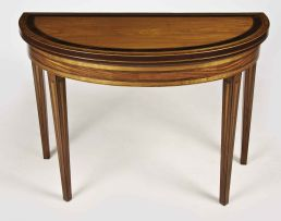 A rare Cape stinkwood, satinwood-veneered and inlaid demi-lune card table, circa 1790