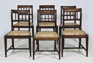 A harlequin set of six Cape stinkwood and inlaid side chairs, mid 19th century