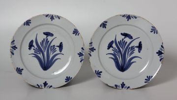 A pair of English delftware blue and white plates, possibly Bristol, circa 1760