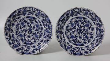A pair of Dutch Delft blue and white dishes, 18th century