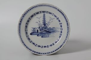 Two Liverpool delftware blue and white plates, circa 1760