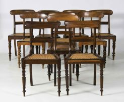 A harlequin set of ten Cape stinkwood dining chairs, late 19th century