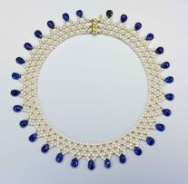 A pearl and kyanite necklace