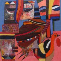 Speelman Mahlangu; Mask, Drum, Bowls and Bird