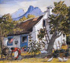Leng Dixon; Women and Children by a Cape Cottage