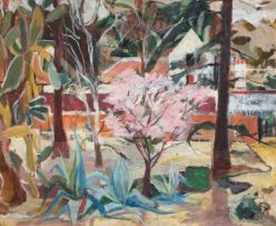 Maud Sumner; A Blossoming Tree, and House in a Wooded Landscape