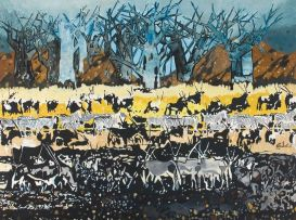 Gordon Vorster; Gemsbok and Zebra in a Winter Landscape