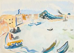 Irma Stern; A Venetian Coastline with Boats