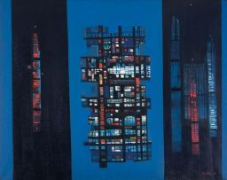 Larry Scully; An Abstract Composition in Blue, Red and Black