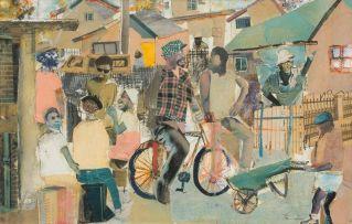 Sam Nhlengethwa; A Township Scene