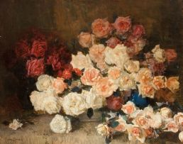 Frans Oerder; A Still Life with Roses in a Blue Vase