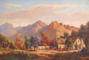 Tinus de Jongh; A Cottage in a Mountainous Landscape