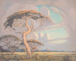 Jacob Hendrik Pierneef; An Extensive Landscape with Acacia Tortilis