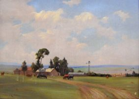 Willem Hermanus Coetzer; A Farm with Cattle and a Figure feeding Chickens
