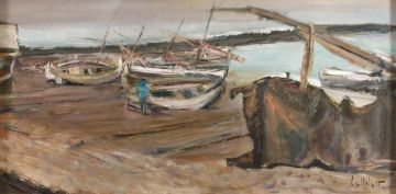 Sidney Goldblatt; Fishing Boats on the Beach
