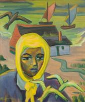 Maggie Laubser; Portrait of a Woman; Landscape with Birds, Houses and Boats in the Background