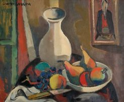 Maurice van Essche; A Still Life with a White Vase, Pears and Apples on a Table