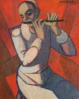 Maurice van Essche; A Harlequin Flautist