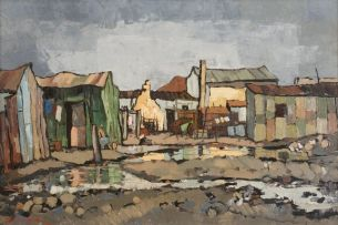 David Botha; A Wet Day in the Township (Windamere, Cape)