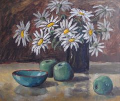 David Botha; A Still Life of Daisies, Apples and a Turquoise Bowl