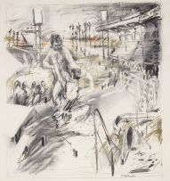 William Kentridge; Highveld Landscape with Stadium