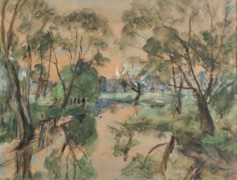 Maud Sumner; A Wooded Landscape with a River