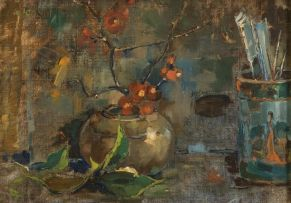 Pieter Wenning; Still Life with Flowering Quinces