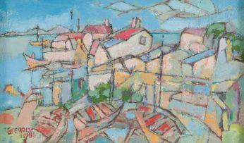 Gregoire Boonzaier; Coastal Landscape with Boats