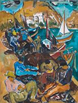 Irma Stern; Repairing Fishing Nets on the Quay