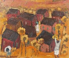 Frans Claerhout; Houses and Sunflowers