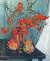 Florence Zerffi; Still Life with Flowers and Pomegranates