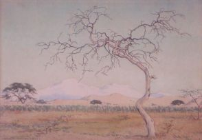 Erich Mayer; A Landscape with Trees and Snow Covered Mountains in the Distance