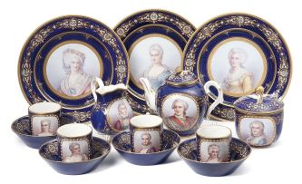A French 'Sèvres' style part coffee and tea service, late 19th century