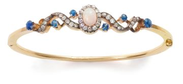 Diamond, opal and sapphire hinged bangle, circa 1890