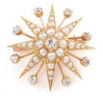 Seed pearl and diamond brooch/pendant, circa 1900