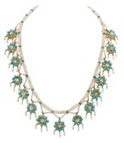 An Indian turquoise and seed pearl necklace, 19th century