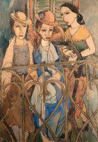 Wolf Kibel; Three Women on a Balcony