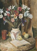 Reginald Turvey; Still Life with Flowers, Apples and a Book