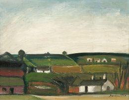 Pranas Domsaitis; Landscape with Houses
