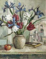 Gregoire Boonzaier; Still Life with Irises and Tulips